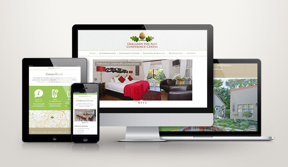 Oaklands Inn Responsive Showcase Web Design - Bootstrap Framework