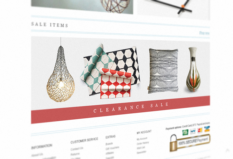 Decor Connect eCommerce Website Homepage Design - Clearance Section
