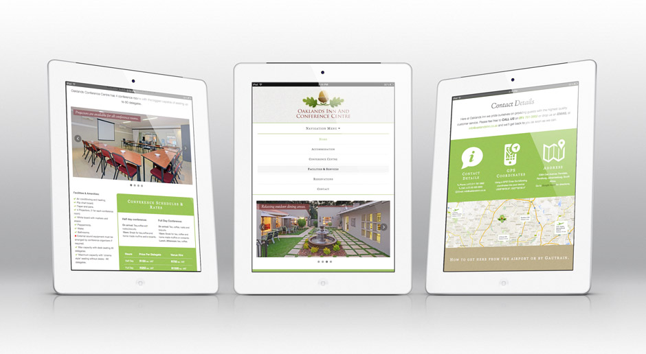 Oaklands Inn Responsive Web Design - Bootstrap Framework  -  Tablet View