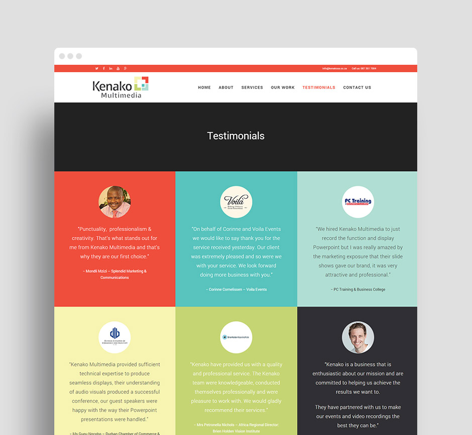 Kenako Multimedia Responsive WordPress Website - Testimonials - Web Designer Durban
