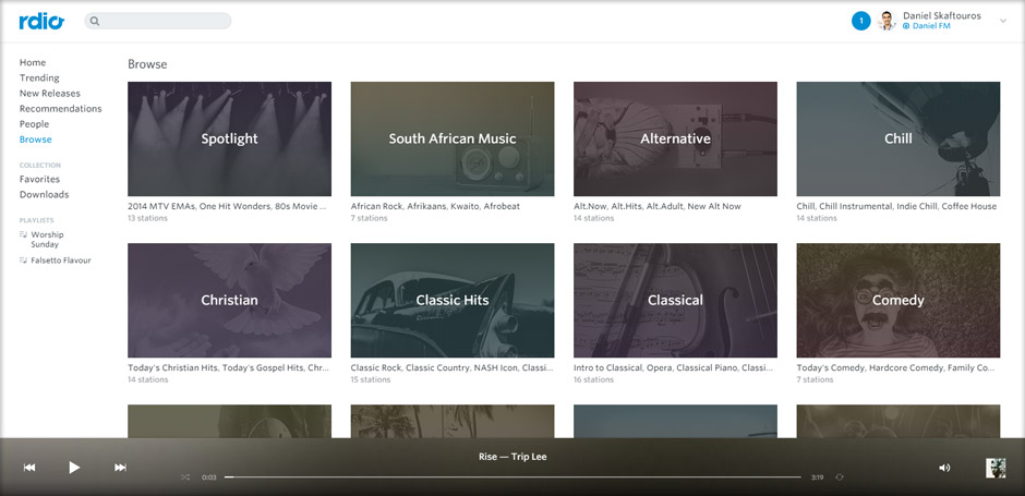 Browse Stations to suit your mood - Rdio - Best Music Streaming Websites In South Africa