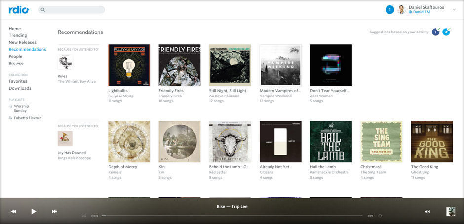 Recommendations - Rdio - Best Music Streaming Websites In South Africa