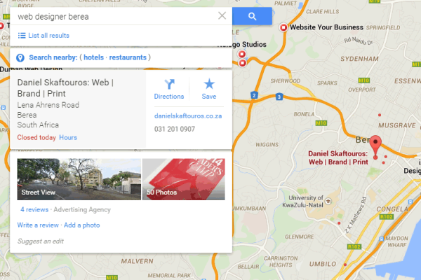 Google Business Page - Map Pin & Business Info