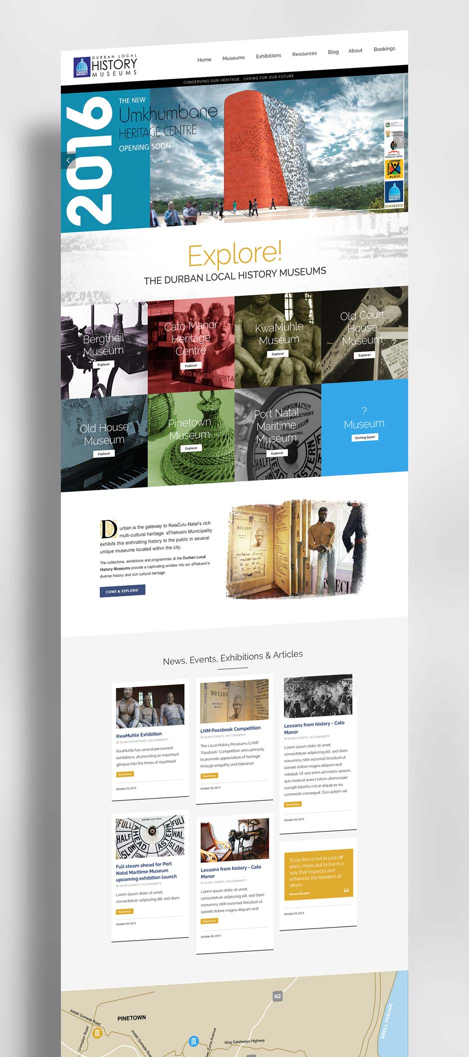 DLHM - Durban Local Histroy Museums Website - Home Page Design Mock-Up