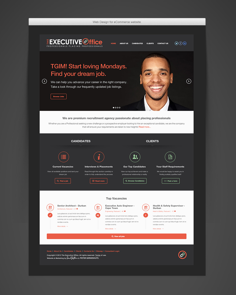 The Executive Office - Full Home Page Design