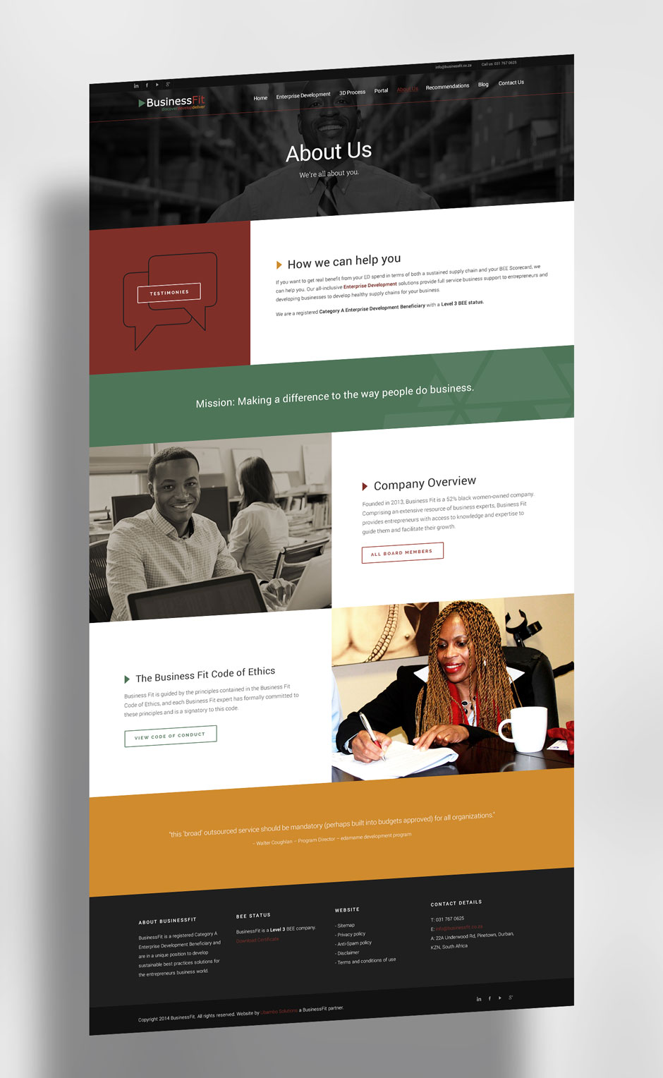 WordPress Website Builder - BusinessFit - About Us Page
