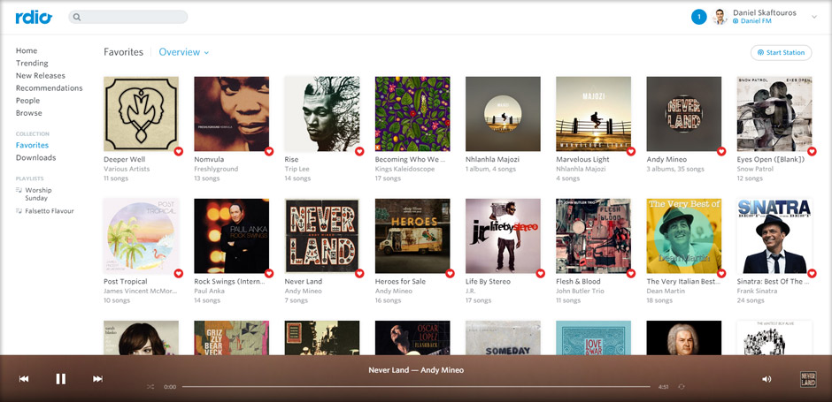 Favourites - Rdio - Best Music Streaming Websites In South Africa