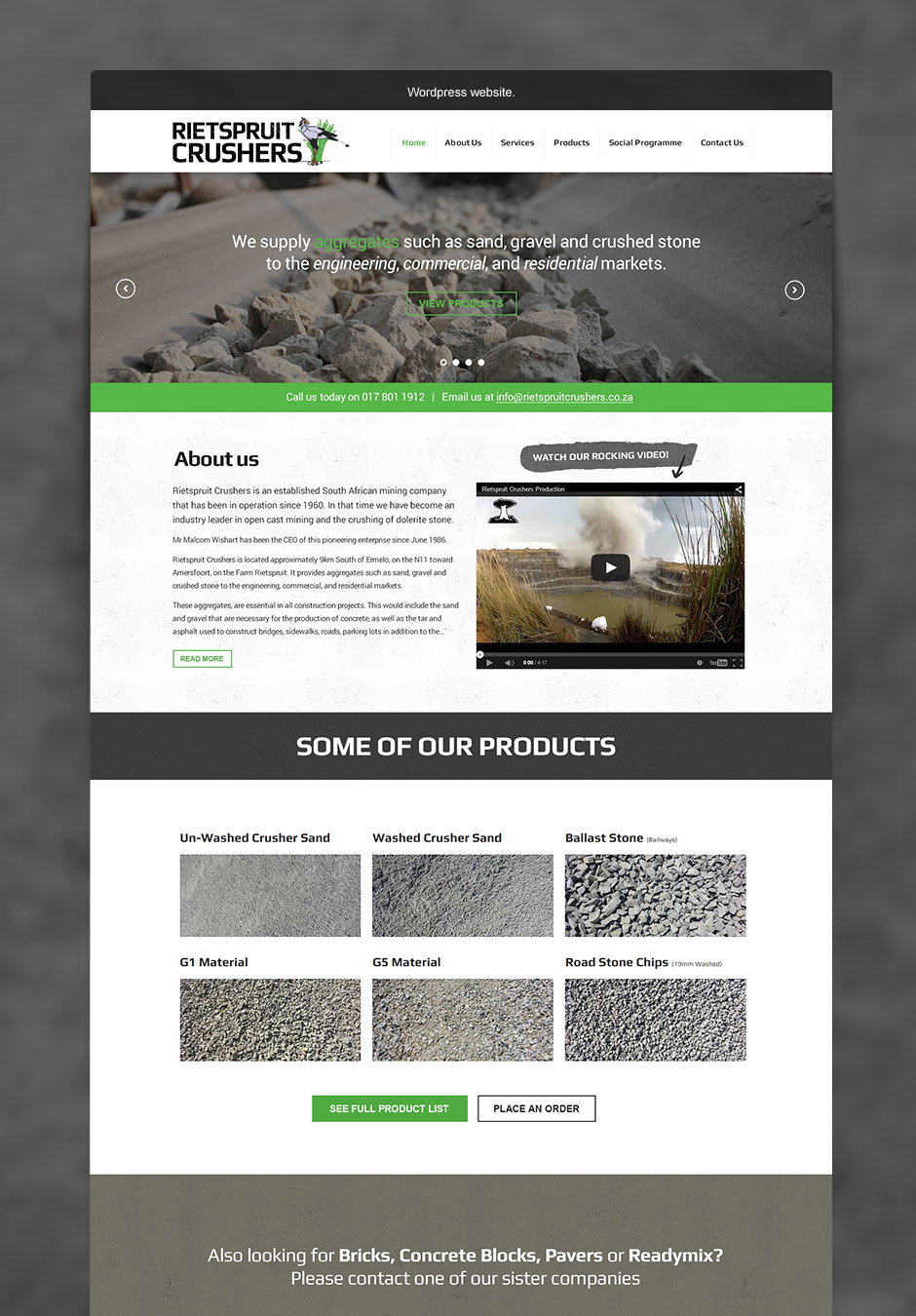 Mining Web Design - Rietspruit Crushers - Full Design of Home Page