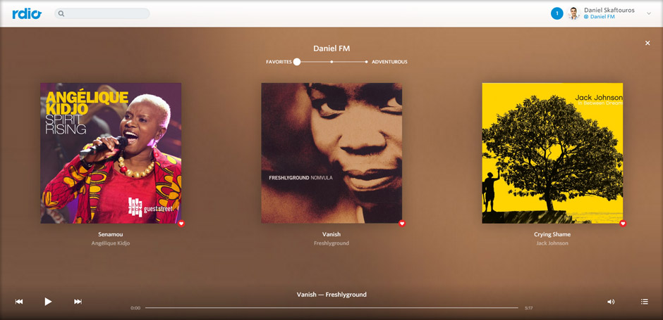 Your Station, DanielFM, Playlists - Screenshot - Rdio - Best Music Streaming Websites In South Africa