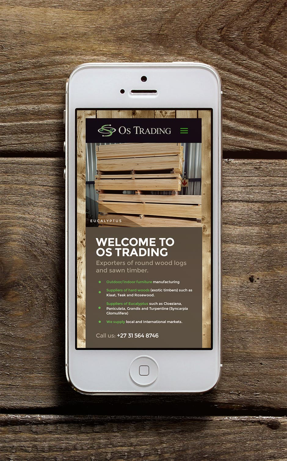 OS Trading - Responsive WordPress Website Design - iPhone Mockup